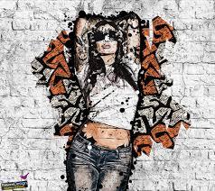 women graffiti wall pixel art