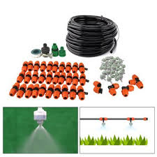 diy 15m outdoor patio misting cooling system home garden sprinkler micro drip irrigation with 30pcs mist nozzle green 9 12 hose garden supplies 7