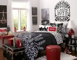 cool image of girl bedroom decoration using black love mural eiffel tower bedroom wall decor including furry white bedroom area rug and round red leather