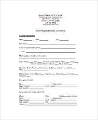 Sample Assessment Form Biopsychosocial Assessment Form Ohye Mcpgroup Co
