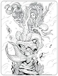Mermaid Coloring Pages For Adults Coloring Page Mermaid Coloring