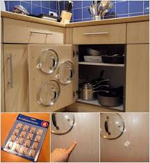 8 fix adhesive hooks on your cabinet door and create an instant lid organizer