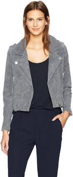 Blanknyc Womens Suede Moto Outerwear Cloud Grey Small