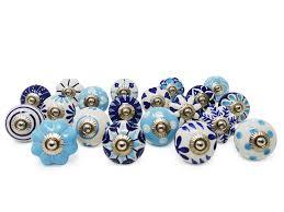 Ceramic Knobs Hand Painted Set Of 20 Unique Designs White Blue