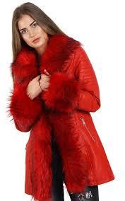 red long faux fur hooded long biker leather coat by urban mist