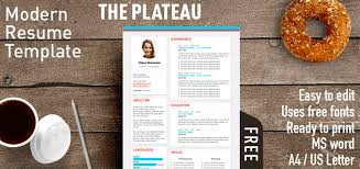 Modern Looking Font For Resume The Plateau Modern Resume Template