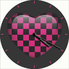 wall clock emo goth pink black hearts