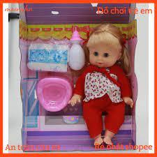 Bộ đồ chơi búp bê bé gái cao 32cm khóc cười uống sữa búp bê có thể tự động  nhắm mở mắt khi đứng lên và nằm xuống-W092170