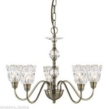 searchlight 6255 5ab monarch 5 light pendant antique brass glass finish