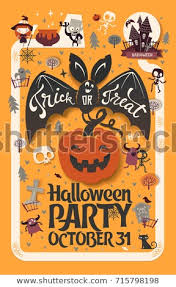 Pumpkin Carving Contest Flyers Holiday Happy Halloween Flyer Template Funny Stock Vector Royalty