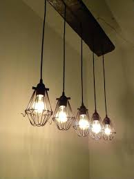 industrial ceiling lamp 5 bulb reclaimed wood chandelier industrial rustic ceiling light cage lamp guard industrial