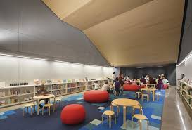 library lighting. The Children\u0026#39;s Area Is Illuminated By Dimmable LED Lighting And Accent Library
