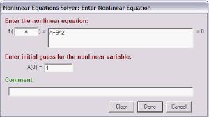 non linear equation solver