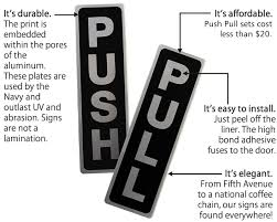 push pull signs door and labels