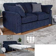 lorna navy fabric sofa bed with 2