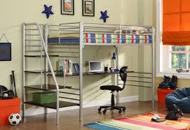 contemporary loft bed with desk underneath with roman blinds