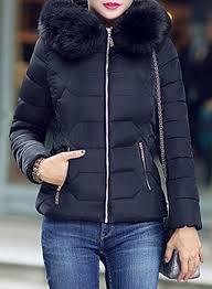 women s down coat with faux fur trim hood