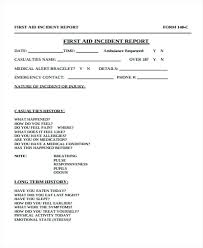 Medical Incident Report Sample First Aid Incident Report