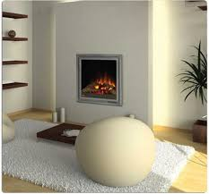 beanbag chair and white rug with coffee table also electric fireplace insert and floating shelves