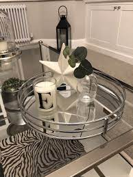 Relaxdays coffee table hardened frosted glass couch table side table steel hxwxd. Chrome Round Mirrored Tray Abode Coffee Table Decor Tray Silver Tray Decor Trays Decor Bedroom