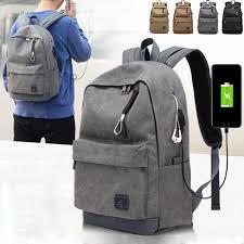 Men <b>Women Canvas Backpack USB</b> Charging Headphone Holes ...
