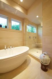 american bath factory contemporary bathroom decoration ideas portland bathtub beige tile floor beige tile shower beige tile wall beige wall freestanding tub bathroom recessed lighting ideas