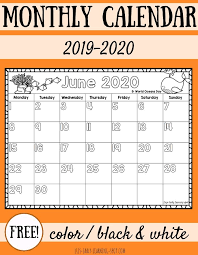 Free 2020 Monthly Calendar Template Free 2019 2020 Monthly Calendars For Kids Lizs Early