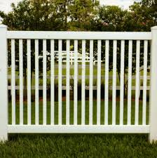 vinyl fence with metal gate. Malibu Vinyl Picket Fence - Closed Top With Metal Gate