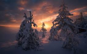 Resultado de imagen de amaneceres nórdicos ,,, sol rojizo y bajo,,,,,las nubes con nieve