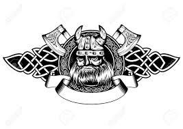 Viking Patterns Custom Vector Illustration Old Viking In Helmet With Horns And Celtic