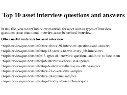 Thank You Letter After Face To Face Interview Top 10 Asset Interview Questions And Answers