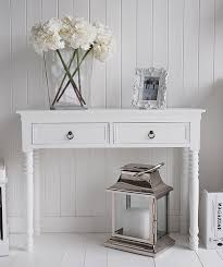 white hallway console table. White Cottage Hallway Furniture, Hall Table With Antique Brass Handles Console C