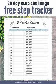 free printable step tracker 28 day