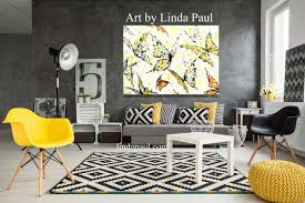 black white grey yellow and red living room art