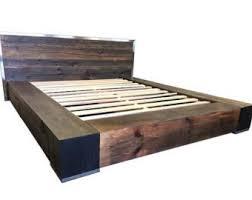Reclaimed wood platform bed storage bed herringbone