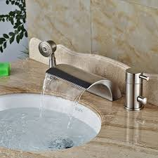 modena brushed nickel waterfall bathtub faucet with handshower 1 700x700 modena brushed nickel waterfall bathtub