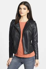 image of trouve zip detail leather jacket size chart