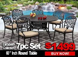 patio furniture elisabeth 7 piece set with 60 inch round table for 6 person