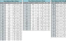 New Balance Size Chart New Balance Shoe Size Chart