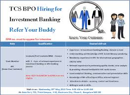 TCS :: Walk in Drive at TCS BPO for Investment Banking - KYC process  #recruitment#