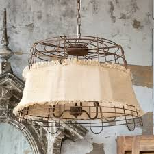 burlap wire basket chandelier