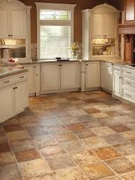 Vinyl Kitchen Floors Brown Tile Kitchen Designs Classic Kitchen Layout  White Wooden Cabinets Granite Countertop Ceramic Sink Kitchen Flooring  Glass Windows, ...