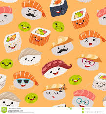 cute sushi wallpaper. Interesting Cute Sushi Emoji Seamless Pattern Cartoon Style Emoticon Kawaii Character  Hand Draw Cute Japanese Food Objects Wallpaper With Facial Icon With Cute S
