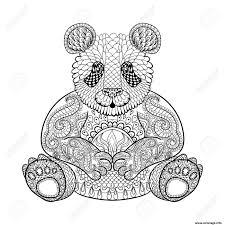 Coloriage Panda Adulte Animaux Zentangle Difficile Dessin