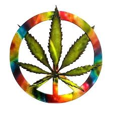 metal peace sign the hand painted powder a view of cans leaf mounted to tie dye large outdoor wall silhouette