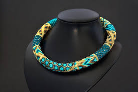 Turquoise Geometric <b>Necklace</b> - Blue Brown Gold <b>Modern</b> Bold ...