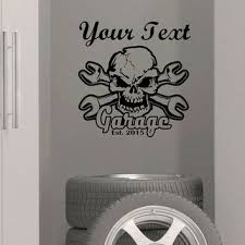wall art custom garage name established year vinyl wall decal sticker decor skull crossbone wrench mechanics on wall art decoration vinyl decal sticker with wall art custom garage name established from funnyandsticky on