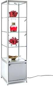 display cabinet glass lighted silver tower display case display cabinet sliding glass door hardware
