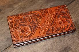 custom fl carved leather checkbook cover sr
