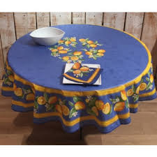 round tablecloth coated blue lemons 70 inches